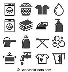 set., vektor, mosoda, házimunka, ikonok