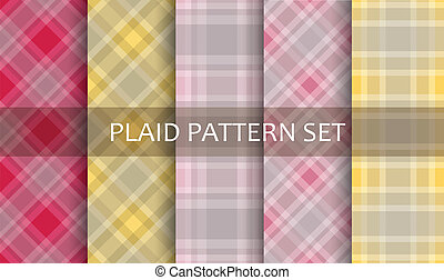 set., vektor, patterns., pléd