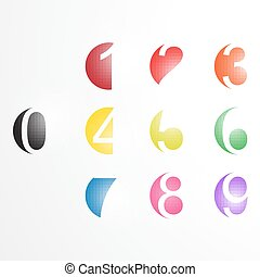 set., vektor, számok, szám