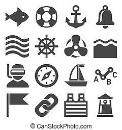 set., vektor, tenger, vitorlázás, ikonok