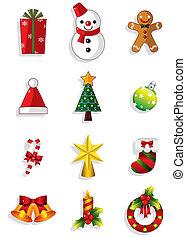 set., vektor, weihnachten, heiligenbilder