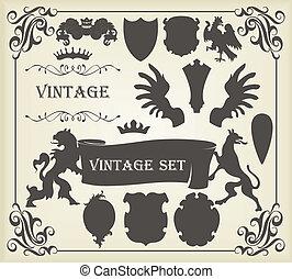 set, vendemmia, araldico, silhouette, elementi, molti