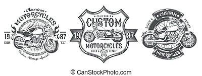set, vendemmia, costume, emblemi, vettore, nero, motocicletta, tesserati magnetici