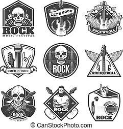 set, vendemmia, emblemi, musica, roccia, monocromatico