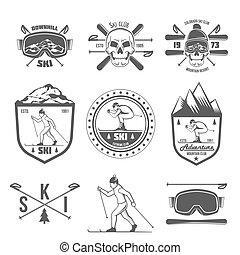 set, vendemmia, etichette, elementi, disegno, sciare