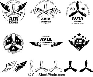 set, vendemmia, etichette, simboli, emblemi, vettore, aeroplano