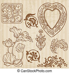 set, vendemmia, -, mano, vettore, floreale, disegnato, fiori, elementi