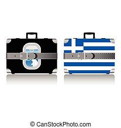 set, vendemmia, valigia, illustrazione, bandiera, grecia