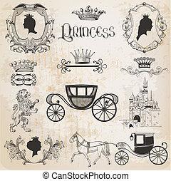 set, vendemmia, -, vettore, disegno, album, ragazza, principessa