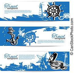 set, vendemmia, viaggiare, backgrounds., mano, mare, nautico, illustrazioni, disegnato, bandiera, design.