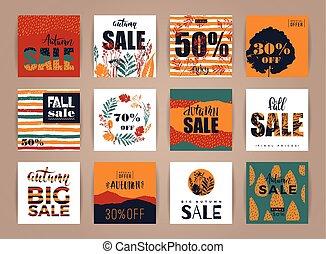 set, vendita, creativo, autunno, artistico, schede.