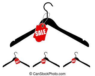 set, vendita, illustrazione, vettore, tag., grucce