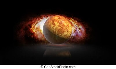 Set Venus planet Galaxy. Planet Venus on galaxy background....