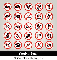 set, verbod, iconen, verboden, symbolen