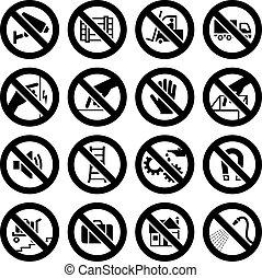 set, verboden, symbolen, industriebedrijven