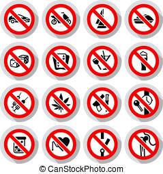 set, verboden, symbolen, op, papier, stickers