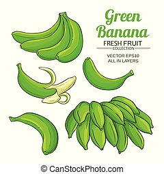 set, verde, banana, frutta