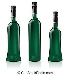 set, verde, bottiglia, vino