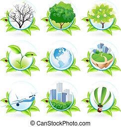 set, verde, icona