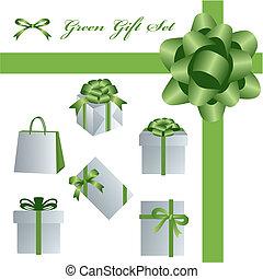 set, verde, regalo
