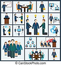 set, vergadering, iconen