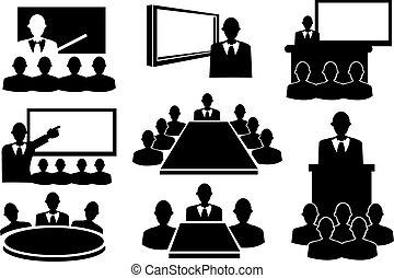 set, vergadering, zakelijk, pictogram