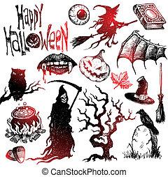 set, verschrikking, halloween, hand, vector, getrokken