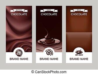 set, verticaal, chocolade, realistisch, vector, banieren