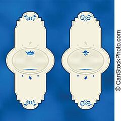 Set vertical vintage labels with design elements