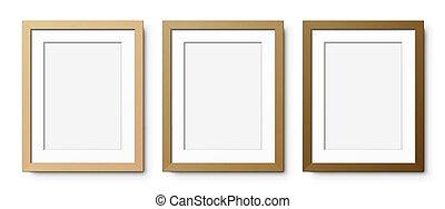 set, verticale, cornici, legno, passepartout.