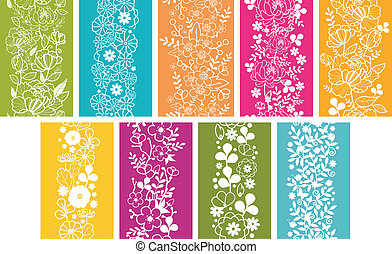 set, verticale, primavera, seamless, modelli, nove, profili di fodera, fiori