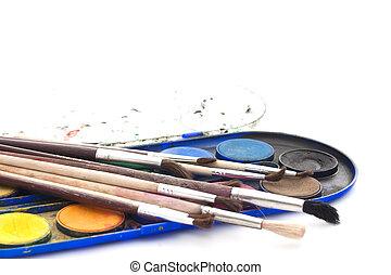 set, verven, borstels, watercolor, achtergrond, witte
