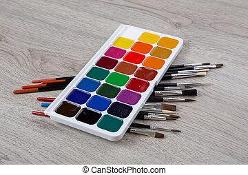 set, verven, borstels, watercolor verf, hout