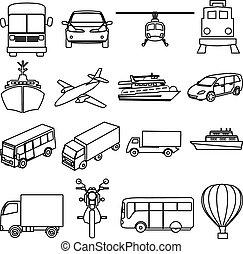 set, vervoer, iconen