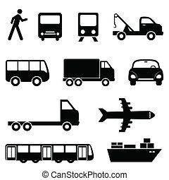 set, vervoer, pictogram