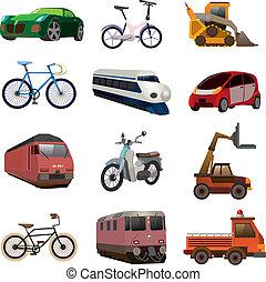 set, vervoeren, iconen