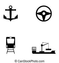set, vervoeren, pictogram