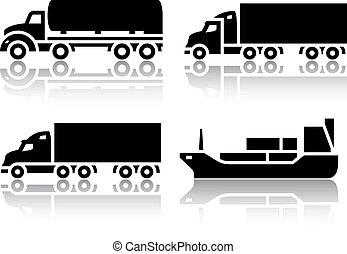 set, -, vervoeren, vracht, iconen