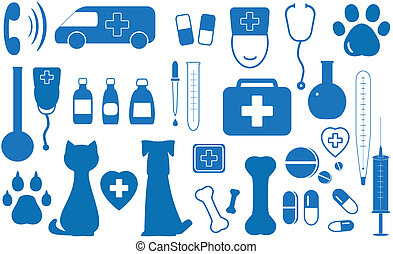 set veterinary facilities - blue icon set veterinary objects