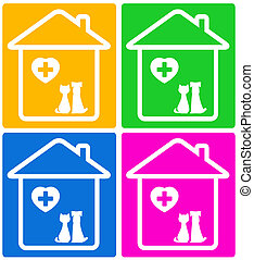 set veterinary symbol with pet - colorful set background for...