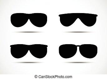 set., vetorial, óculos de sol, óculos, ícones