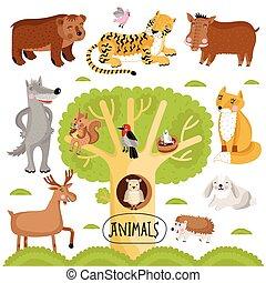 set., vetorial, animais