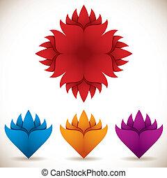 set., vetorial, flor, coloridos, ícones
