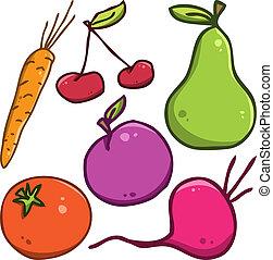 set., vetorial, legumes, frutas