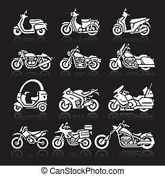 set., vetorial, motocicleta, ícones