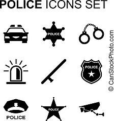 set., vetorial, polícia, ícones