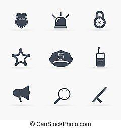 set., vetorial, polícia, illustration., ícones