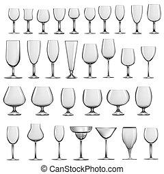 set, vetro, occhiali, calici, vuoto, vino