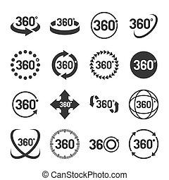 set., vettore, 360 grado, icone