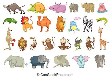 set, vettore, animali, illustrations.